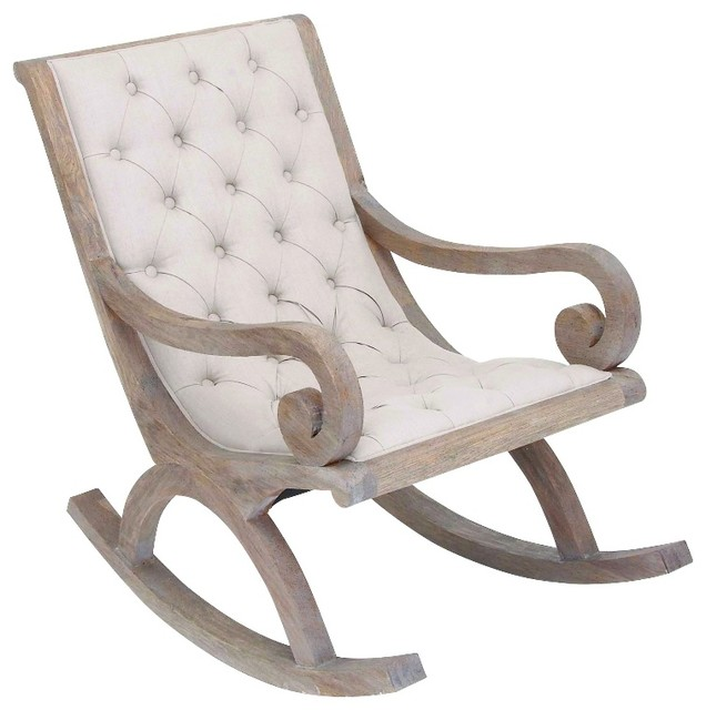 Wood Rocking Chair White Fabric On Quilted Cushion Furniture Decor Traditional Chairs