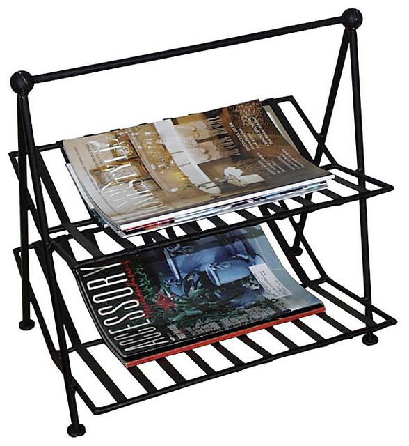 Black Wrought Iron Magazine Rack Contemporary Magazine