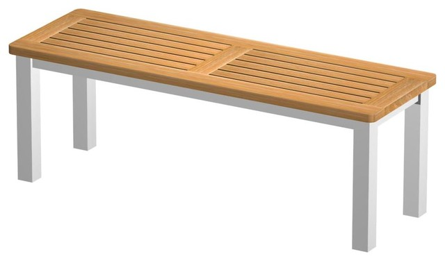 Vogue Teak and Stainless Steel Backless Bench 4ft Modern Patio Furniture