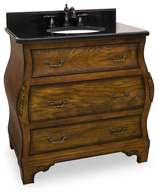 Lyn Design Wood Vanity Black Granite Top Traditional Bathroom Vanities A