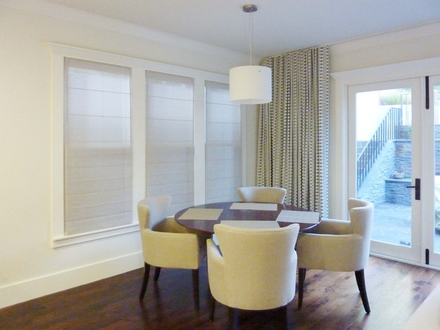 Sheer Roman Shade In Family Room Or Den Contemporary