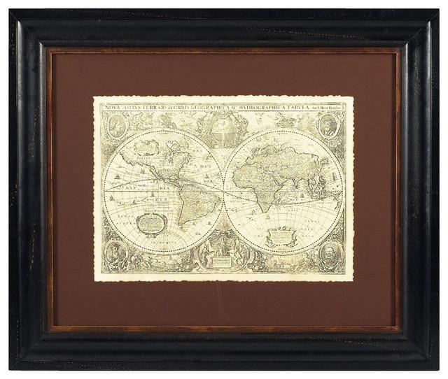 Bassett Mirror Old World Vintage World Map Framed Art