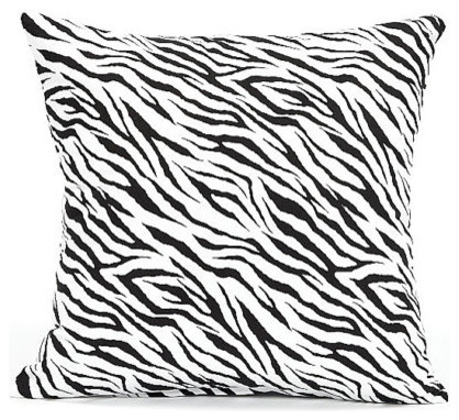 Black And White Zebra Throw Pillows : Black And White Zebra Throw Pillow Cover - Modern - Decorative Pillows - by Silver Fern Decor