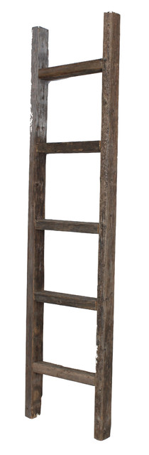 ... Rustic Reclaimed Wooden Ladder, 5 Foot rustic-display-and-wall-shelves
