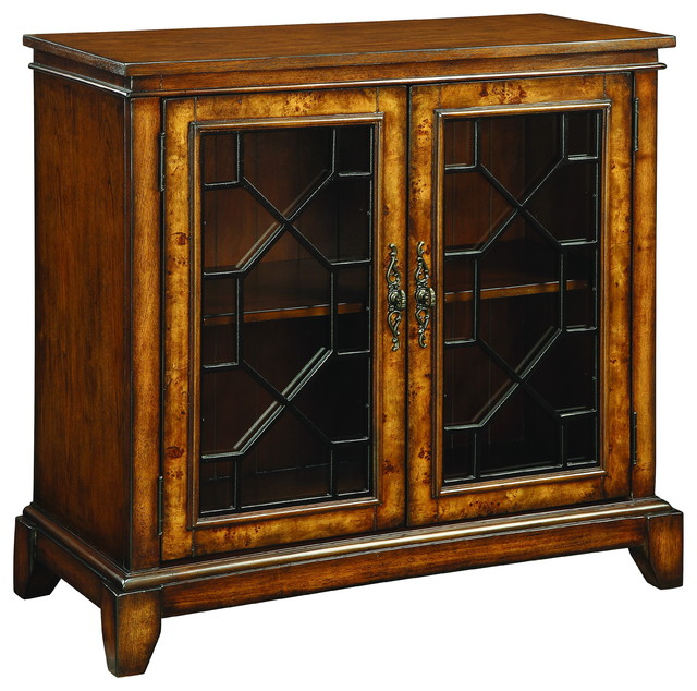 Cresthill Brown Two Door Glass Cabinet - Traditional - Accent Chests And Cabinets - by Michael ...