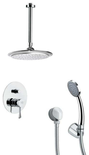 Ceiling Mounted Rain Shower System With Hand Shower Contemporary Showerhe