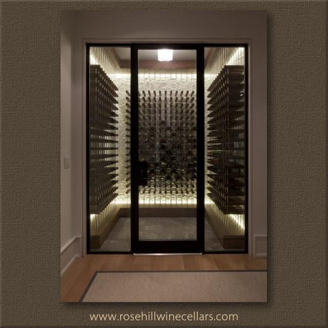 Contemporary Wine Cellar with Peg Style Racking - toronto - by Rosehill Wine Cellars Inc.