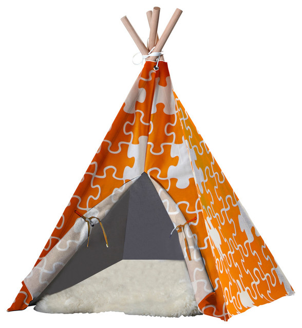 Pet tepee orange puzzle large contemporary kids for Architectural decoration crossword clue