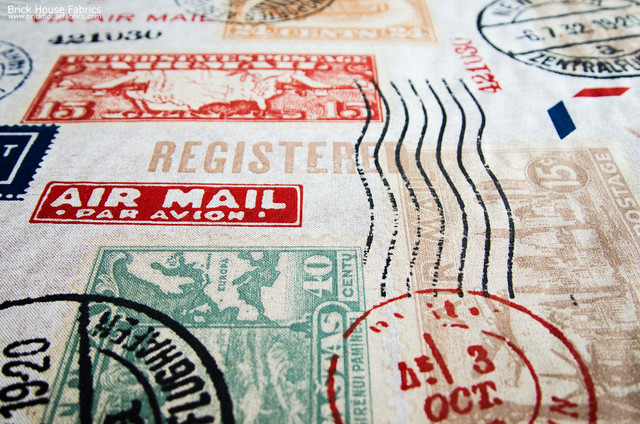 Travel fabric postage stamp mail Eclectic Upholstery