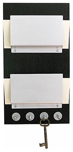 Modern wall mount double wood mail holder key rack organizer modern storage and organization - Wall mounted mail organizer and key rack ...