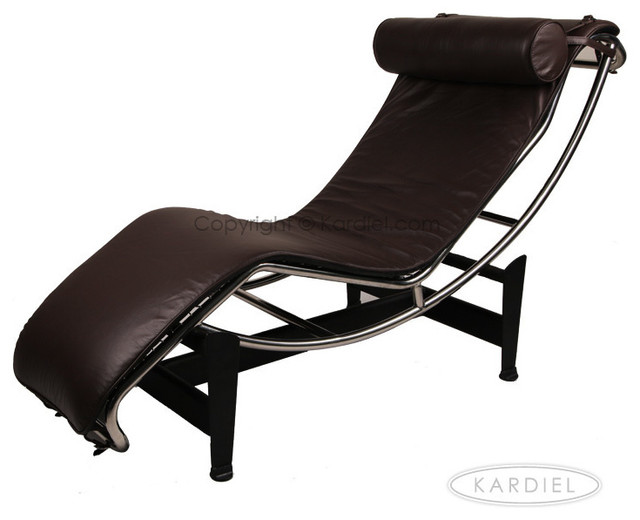 Kardiel le corbusier style lc4 chaise lounge choco brown for Brown chaise lounge indoor