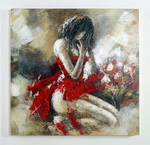 Encore in red oil painting acrylic painting modern for Red canvas painting ideas