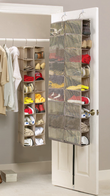 18 pair mesh overdoor shoe organiser contemporary shoe for Over wardrobe storage