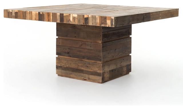 Hunter Rustic Lodge Chunky Reclaimed Wood Square Dining Table Rustic Dini