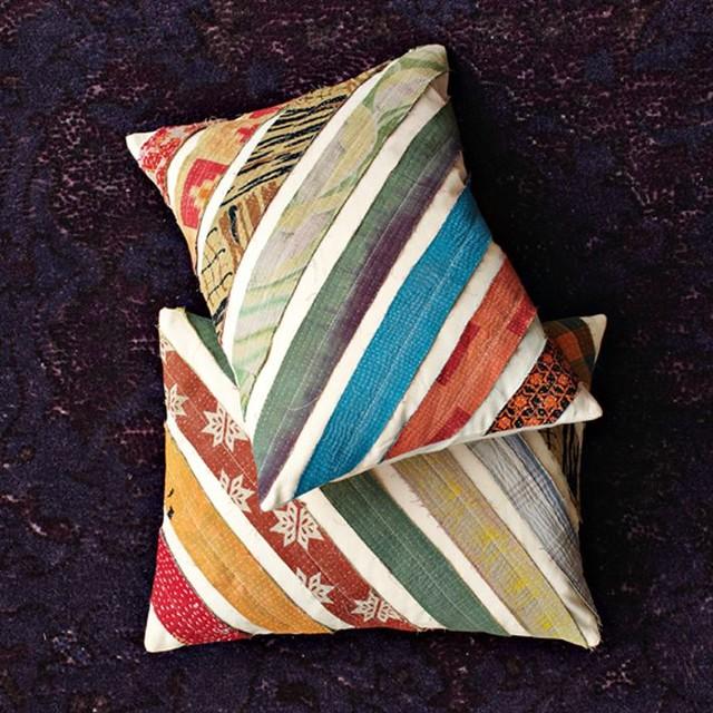 kantha diagonal stripe pillow cover contemporary decorative pillows by west elm. Black Bedroom Furniture Sets. Home Design Ideas