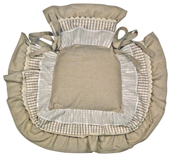 Galette de chaise ronde avec volant for Galette de chaise 4 rabats