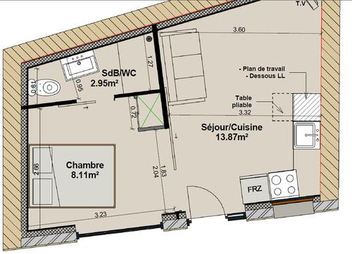 Conseil am nagement int rieurs 2 pi ces 25m for Salle de bain 2 m2