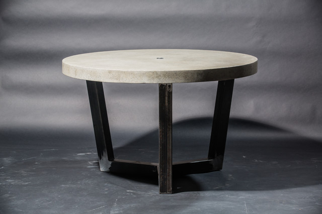 round concrete and articulate metal table industrial dining tables other by set in stone. Black Bedroom Furniture Sets. Home Design Ideas