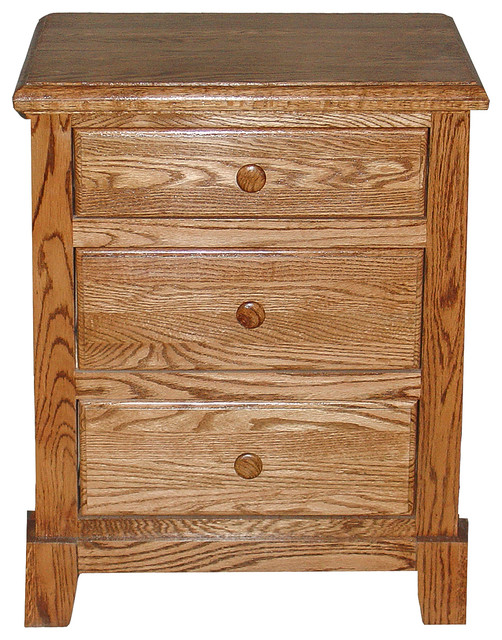 Shaker Oak 3-Drawer Nightstand traditional-nightstands-and-bedside-tables