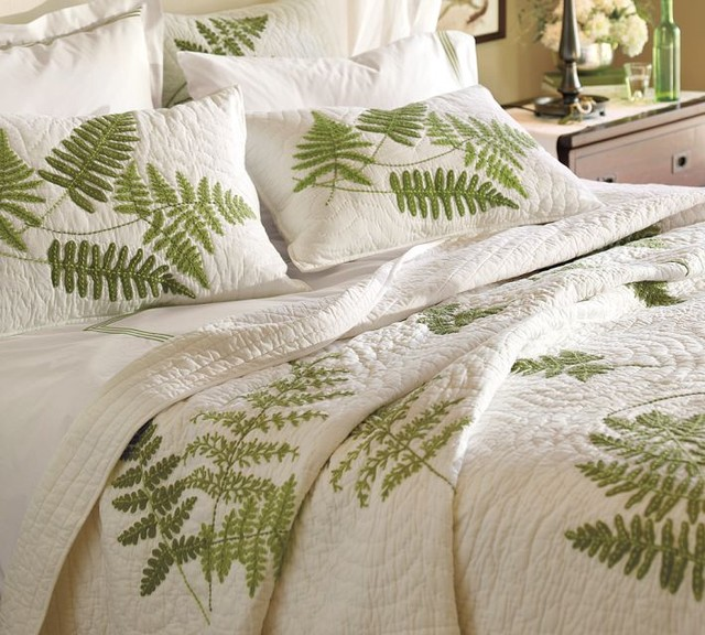 Fern Embroidered Organic Quilt And Sham Contemporary
