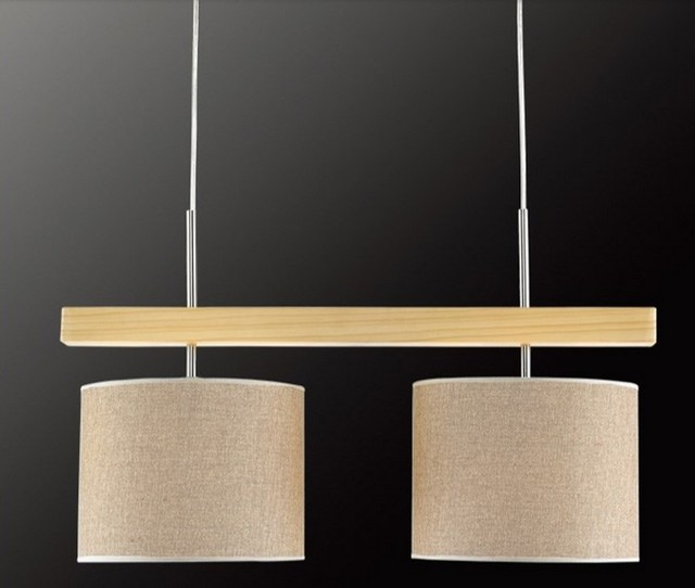 modern simple original wood and fabric pendant lighting