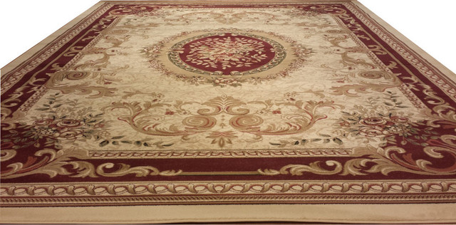 D602 French Aubusson Traditional Medallion Beige Ivory