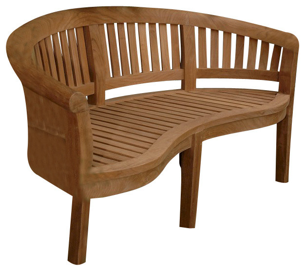 Curve 3 Seater Bench Extra Thick Wood Modern Garden Benches By Shop Chi