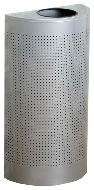 United Receptacle Open Top Half Round Waste Can 12 Gallon