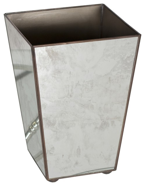 Worlds away antique mirror square wastebasket plain contemporary wastebaskets by matthew izzo - Modern wastebasket ...