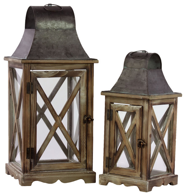 Wood lanterns with metal tops set of 2 traditional for Wooden garden lanterns
