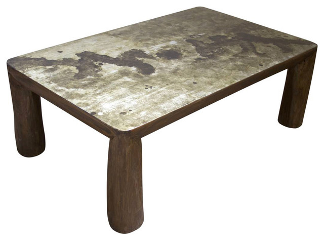 Melbourne Rustic Live Edge Coffee Table Silver Eclectic Coffee Tables
