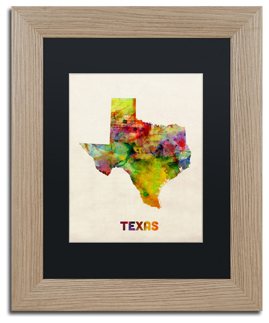 'Texas Map' Birch Wood Framed Canvas Art by Michael Tompsett - Transitional - Prints And Posters ...