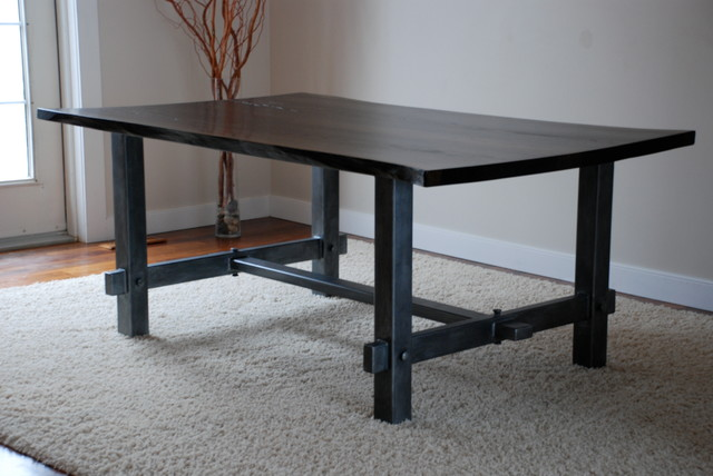 Steel dining room table traditional dining tables calgary by stone wood and steel - Steel kitchen tables ...