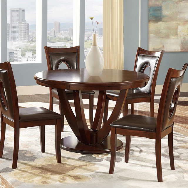 Miraval Cherry Brown Round Dining Table Contemporary Dining Tables