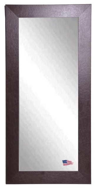 American Made Wide Brown Leather Full Length Mirror