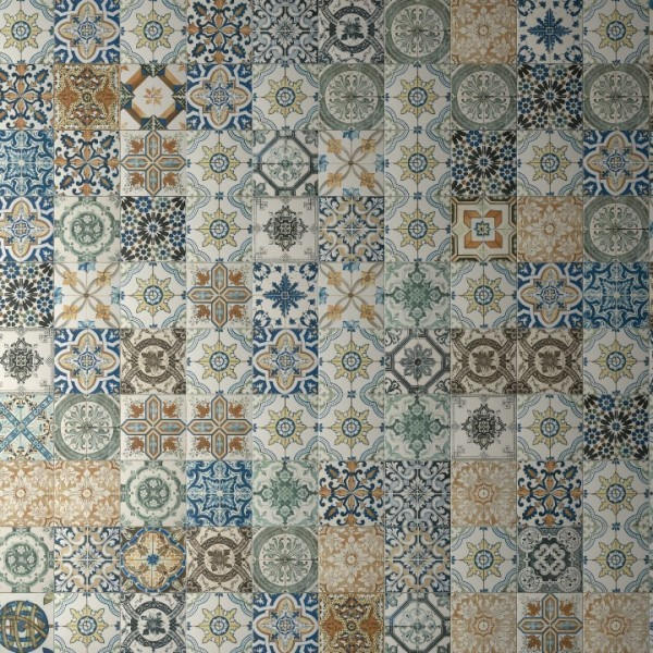 Nikea patchwork tiles multi coloured tiles direct tile for Shabby chic wall tiles
