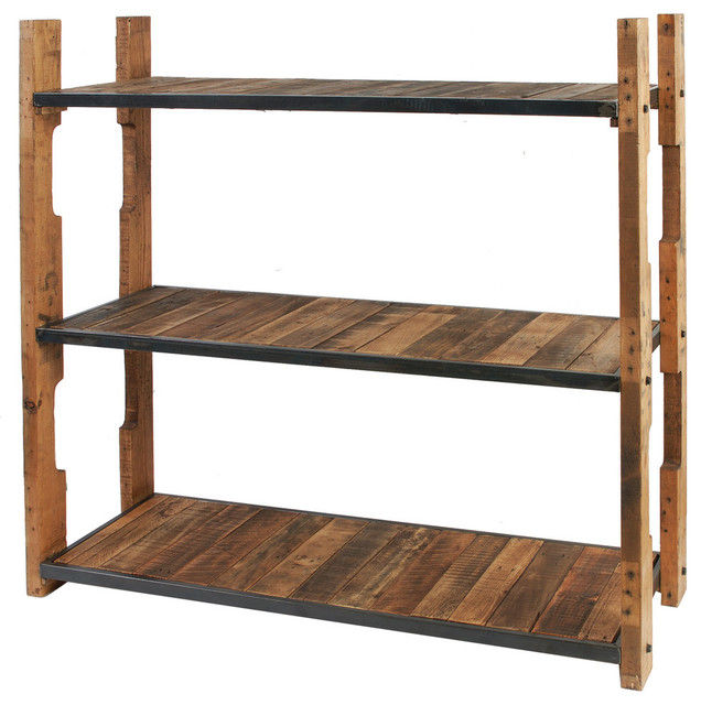 Eco Friendly Furniture, 3-Tier Wood and Iron Shelf - Rustic - Display And Wall Shelves - by ...