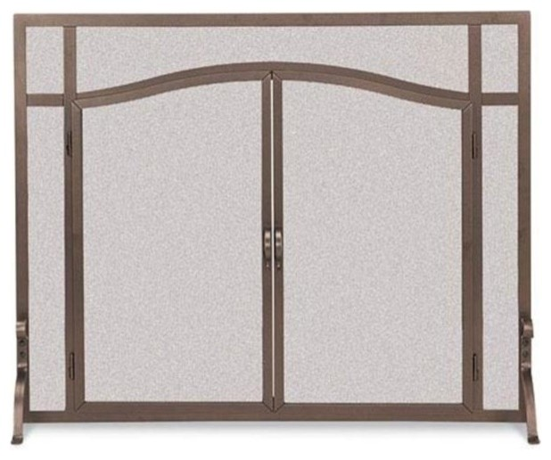Pilgrim 18439 Forged Iron Door Screen Vintage Iron Contemporary Fireplace Screens By