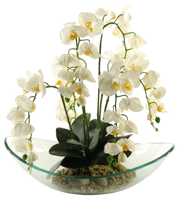 D W Silks Cream Phael Orchids In Large Glass Bowl