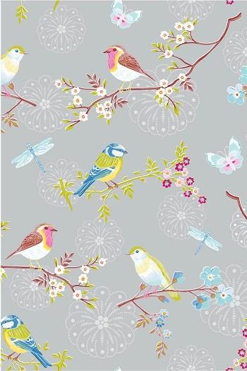 Pip early bird grey wallpaper wallpaper by for Bird wallpaper home decor
