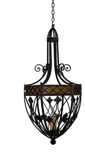 Pn 027 custom iron and mica pendant light mediterranean for Mediterranean lighting fixtures