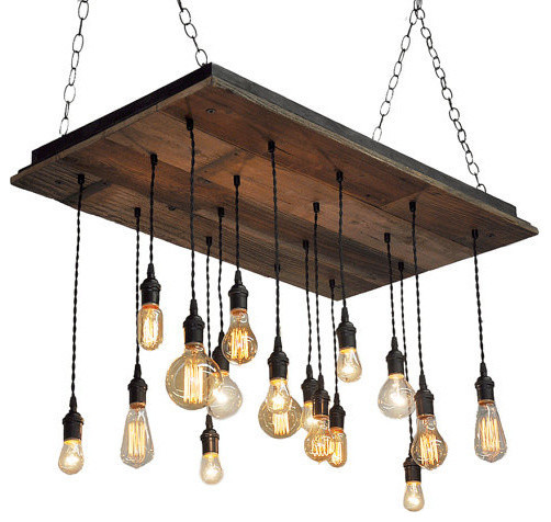 Reclaimed Wood Chandelier Oil Rubbed Bronze Socket Suspended Rustic Cha