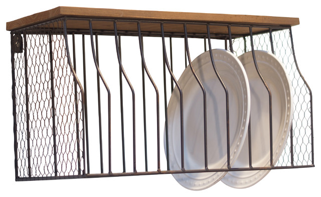 Wall Mounted Plate Rack Metal and Wood Industrial