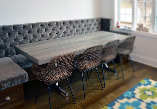 reclaimed wood rustic grey modern dining table. Black Bedroom Furniture Sets. Home Design Ideas