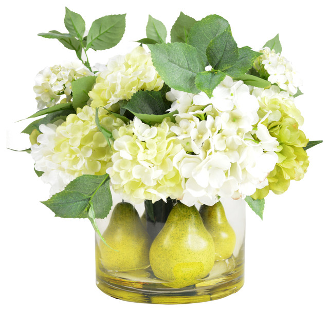 Pear And Hydrangea Centerpiece Arrangement Contemporary
