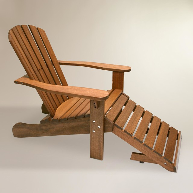 Modern Wood Adirondack Chair with Stow Away Ottoman Modern Outdoor Produc