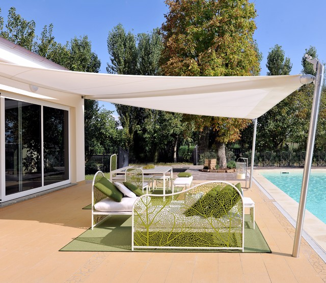 Retractable Shade Sail Contemporary Patio Other by