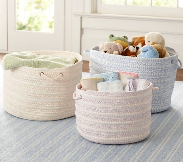 Round Woven Storage Pottery Barn Contemporary