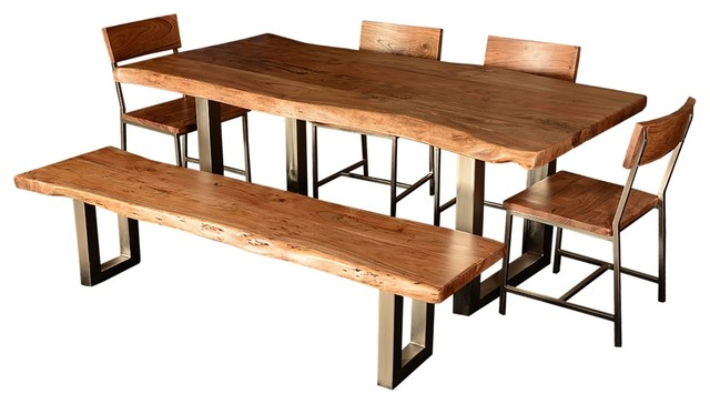 Live edge single slab modern rustic dining table chair for Kitchen set industrial