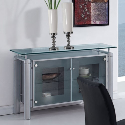 Global Furniture - Clear Glass Top Buffet with Silver Legs ...
